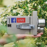 Video camera for recording Facebook Live video marketing.