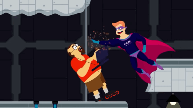 Animated Hacker being hit by Core Security Super hero