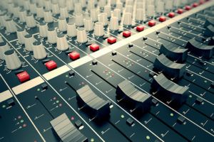 Soundboard used to edit music as it's being added to a video soundtrack