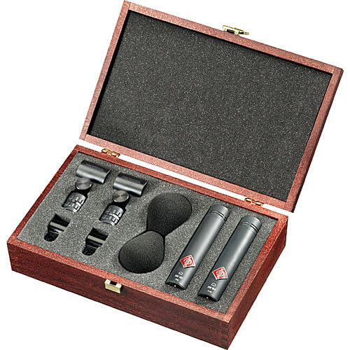 A matched pair of Neumann KM 185 MT hypercardioid microphones, complete with handsome carrying case.