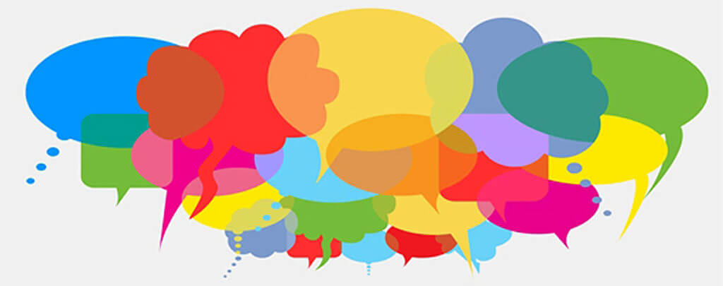Numerous colorful speech bubbles of various colors