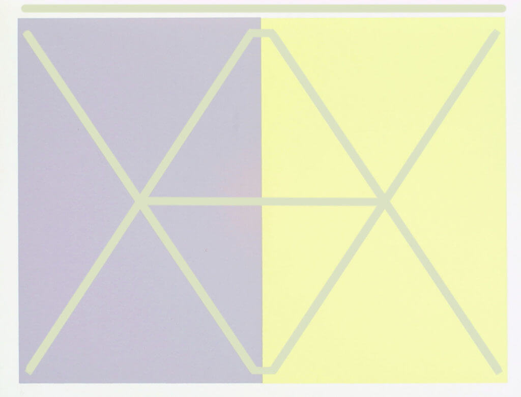 Two X color placement illusion with more lines