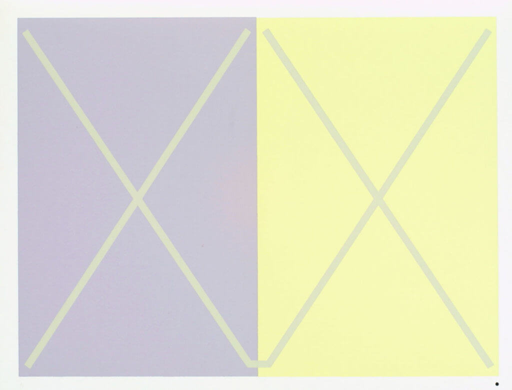 Two X - Color placement illusion by Josef Albers