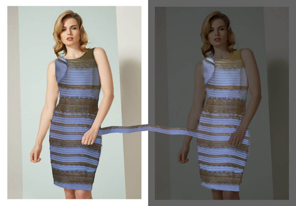 A women wears the same dress in two photos.  One dress is black and blue.  One dress is gold and white.