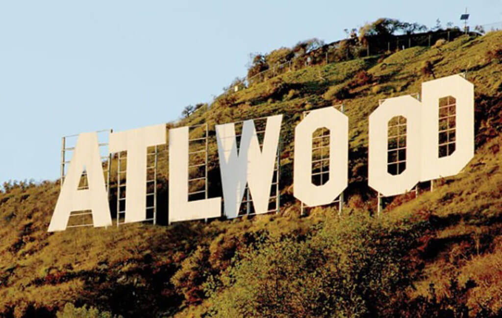 ATLwood sign references tax credits and tax incentives for post-production in Georgia.