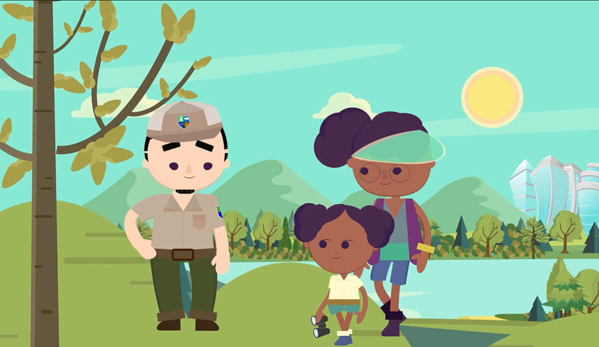 "Georgia Forestry Commission's ""8 Challenges"" explainer video shows a park ranger with girl and her mom."