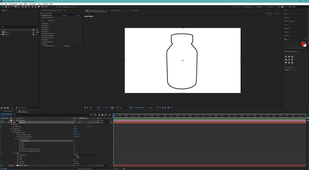 Dynamic 3D outline of a bottle in an After Effects project