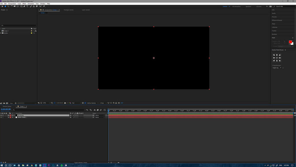 After Effects tutorial setup with a solid black canvas ready for the dynamic 3D outlines.