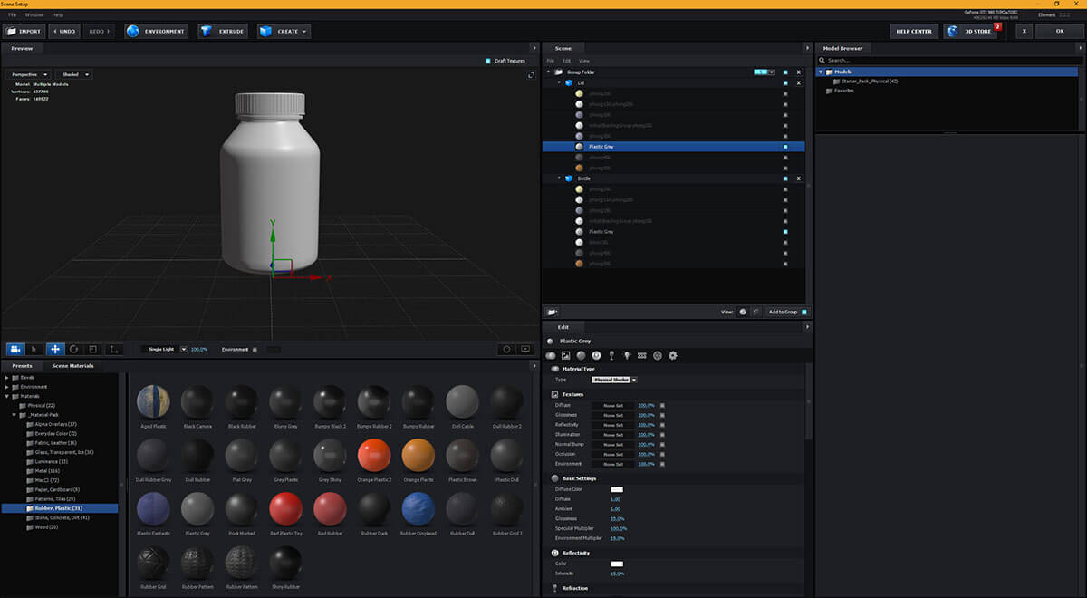 A 3D rendering of a pill bottle in After Effects.