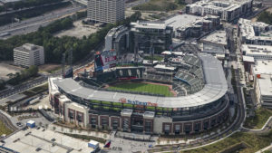 From a drone's point of view, we look down over SunTrusk Park during an Atlanta Braves baseball game. The stadium won Kimley-Horn the 2018 ACEC Georgia Grand Prize.