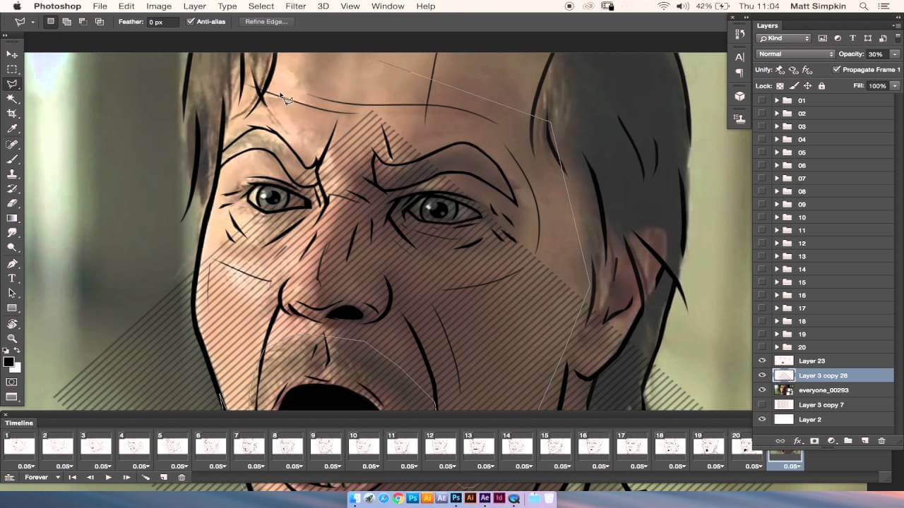 A rotoscoping Photoshop still of a man shouting