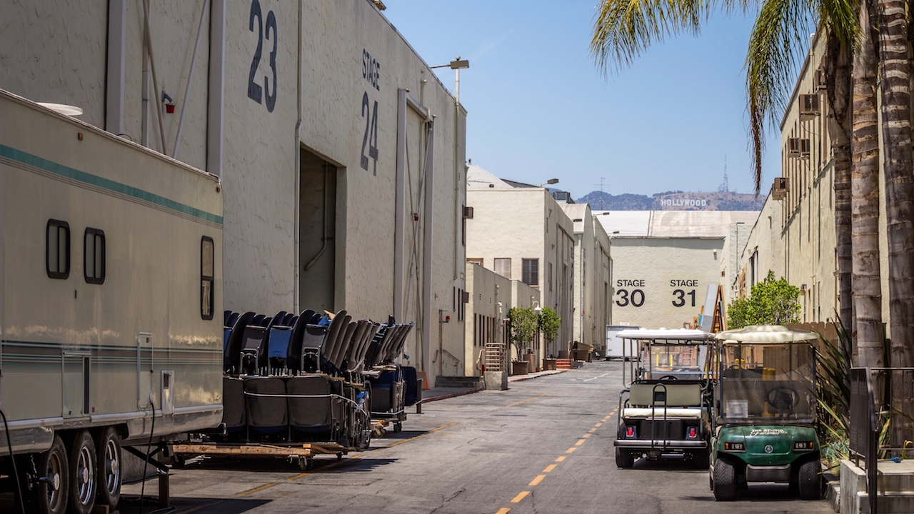 A Hollywood sound stage at a big movie production, suggesting that someone is moving on up.