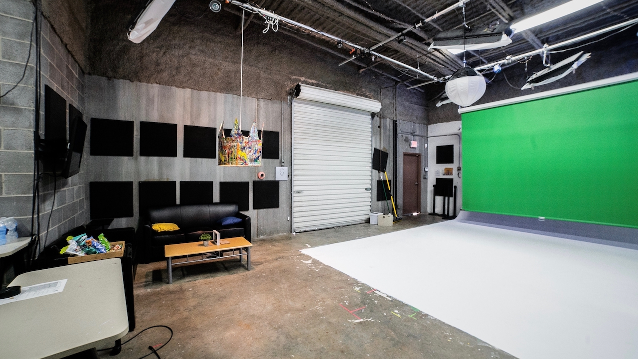 Our production studio rental has enough space to shoot interviews, music videos, green screen scenes, and more. Email info@ecgprod.com to book our space today!