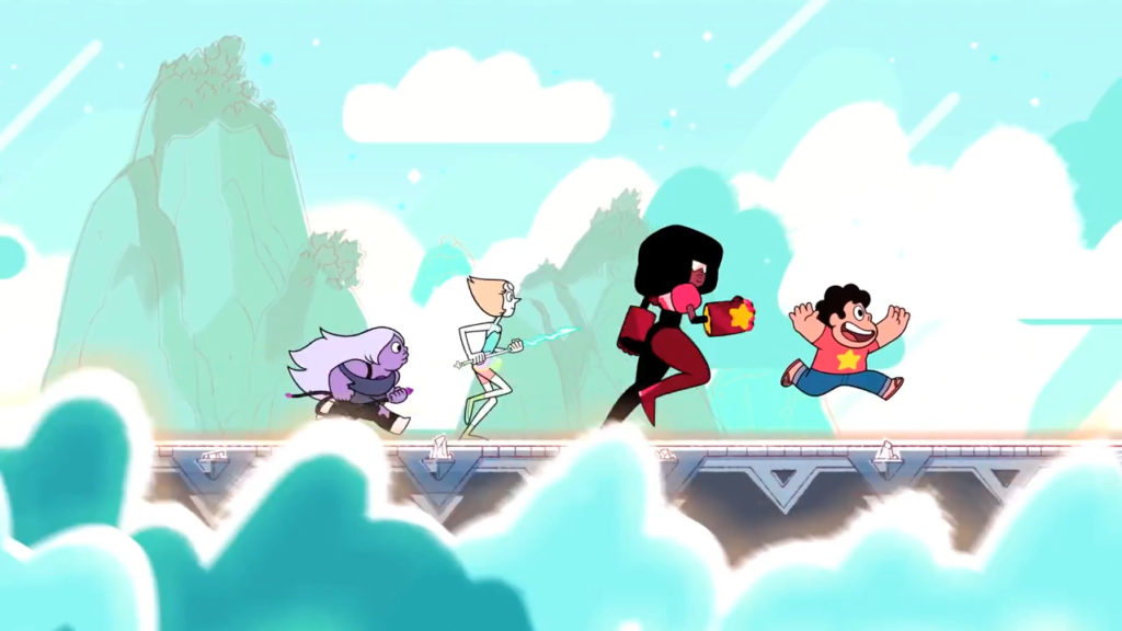 Characters from Steven Universe, an American animated television series, running and jumping during a sidescroll.