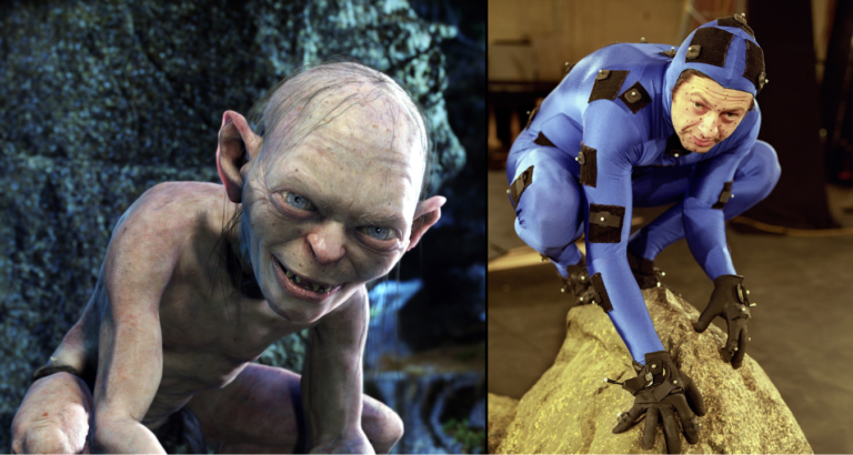 A motion capture of Andy Serkis showing how to animate Gollum.