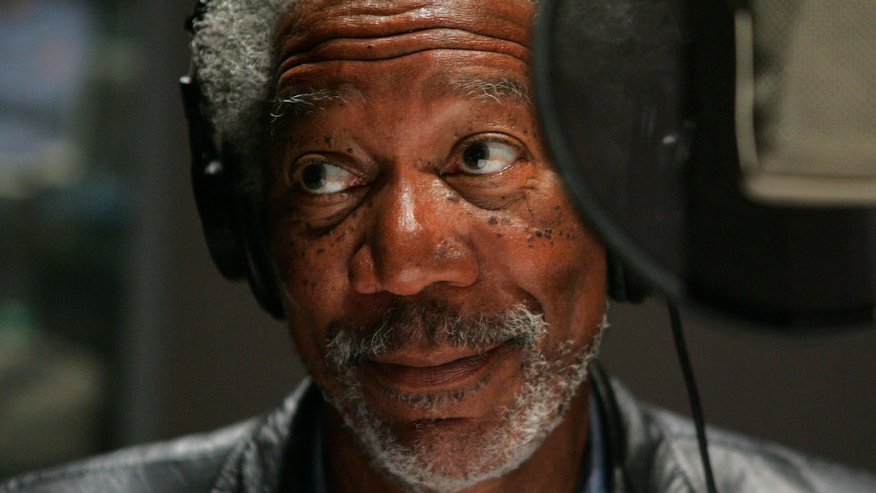 Morgan Freeman doing a voice-over recording.