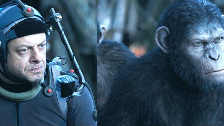 Before and after special effects animation showing Andy Serkis and him in Planet of the Apes.