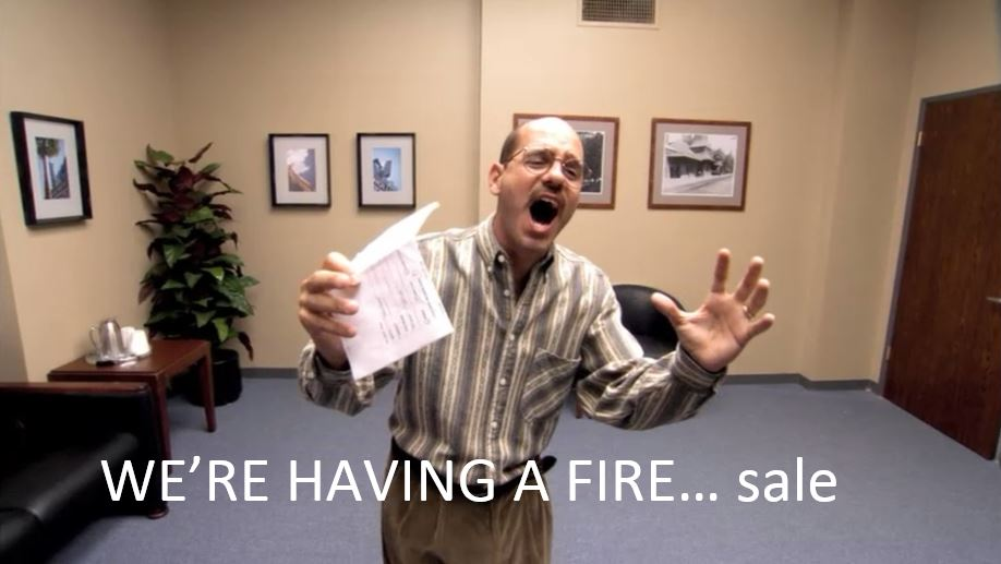 "Tobia Funke from Arrested Development doing his ""Fire Sale"" audition."