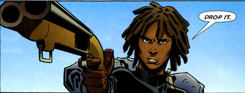 Agent 355 (from Y: The Last Man) with a blunderbuss