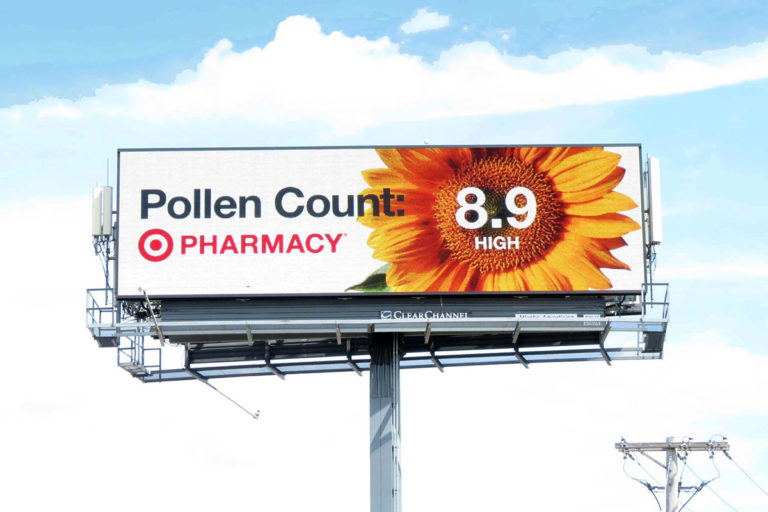 Target uses outdoor advertising on a billboard to promote its pharmacy.