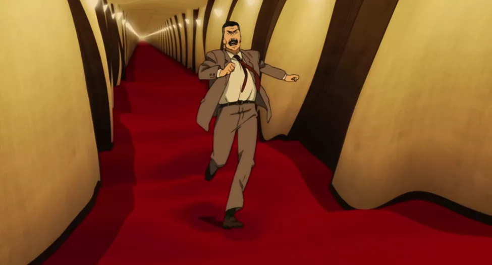 Paprika - A man runs down a hallway filled with doors.