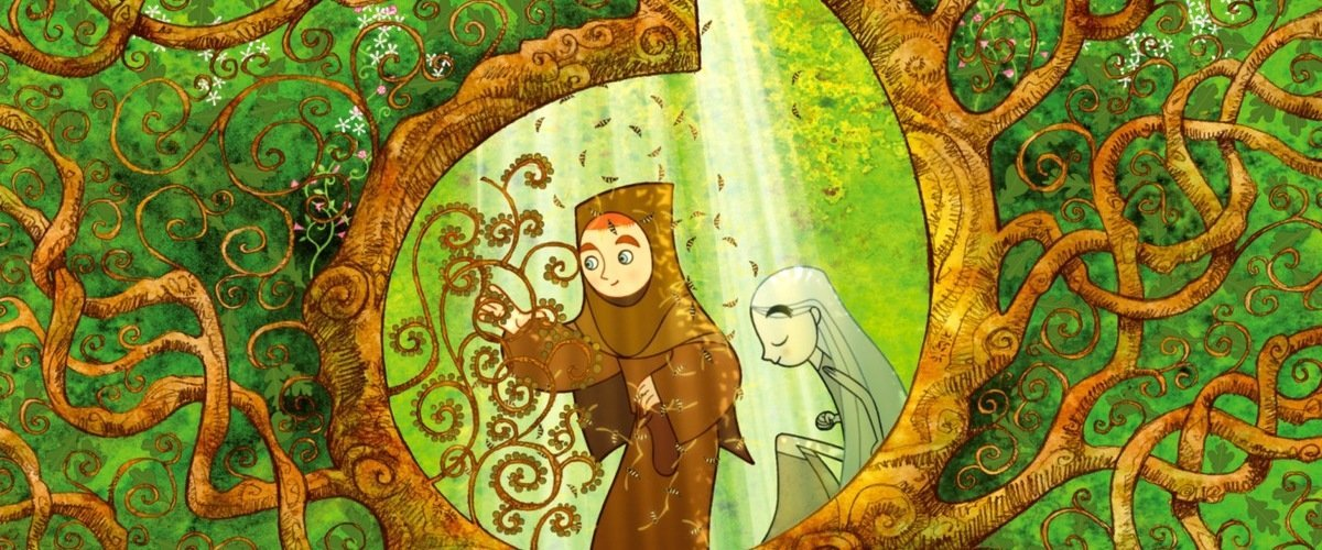 Secret of Kells - A boy and girl in a forrest, surrounded by branches.