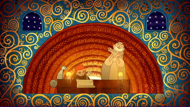 Secret of Kells - A boy sits and writes at a table, accompanied by a man and squirrel.