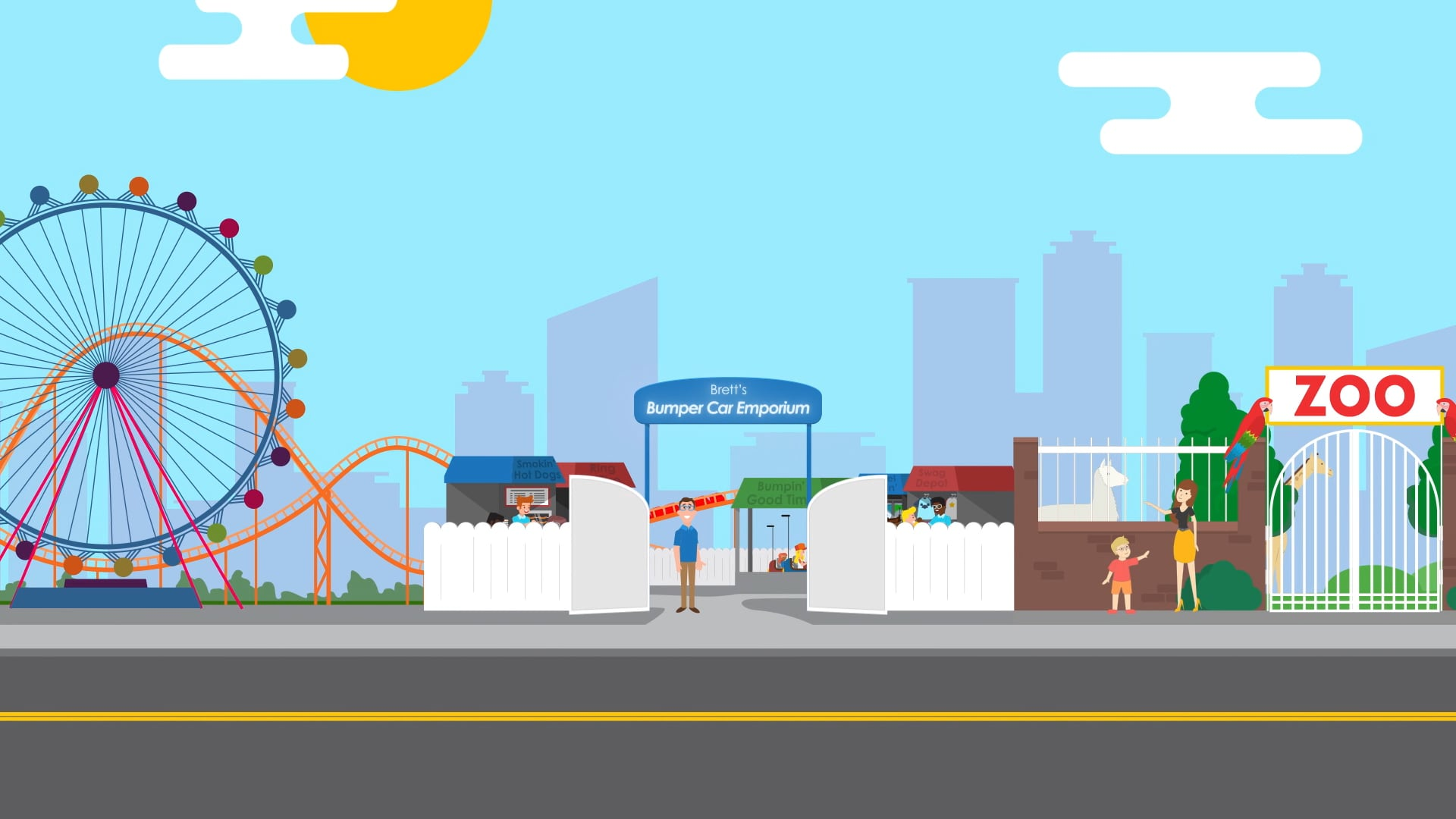 A 2D animation of a family at a zoo or fair