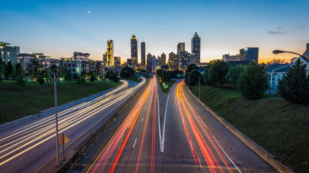 Atlanta timelapse viewed from the Jackson Street Bridge at dusk
