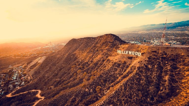 Hollywood Hills sign during a golden sunset