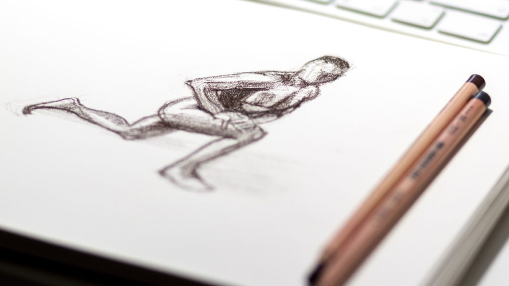 A 2D animation pencil sketch of a person lunging