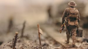 Stop motion animation set with miniature WWI soldier walking
