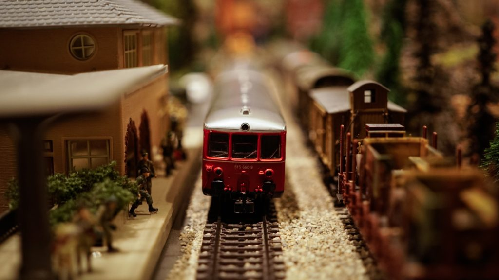 Red and gray miniture model train
