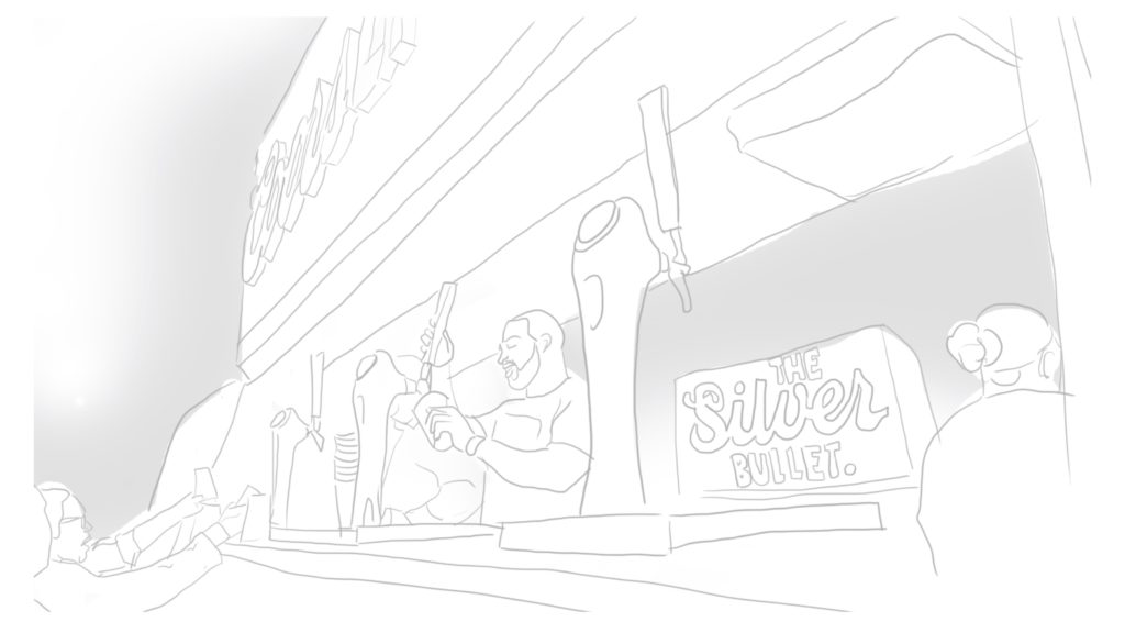 A sketch of a bartender pouring a draught beer inside of a bar.