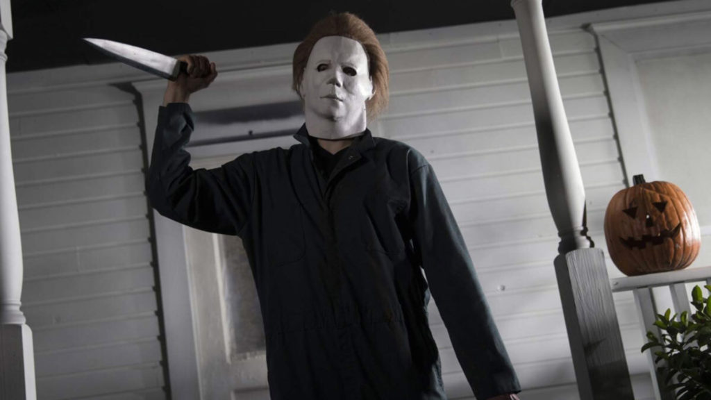 "A film still of Mike Myers with a knife from the horror movie, ""Halloween."""