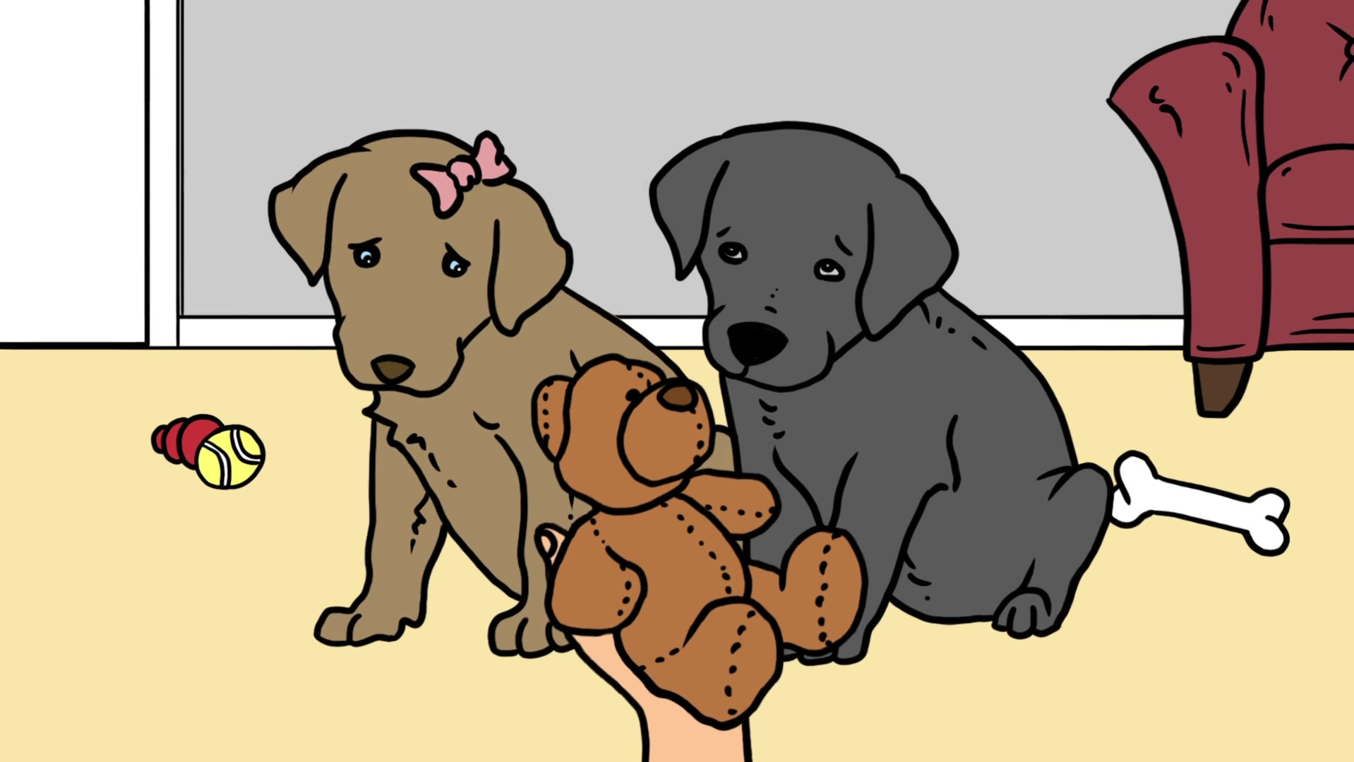 animated puppies being scolded