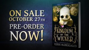 A book cover and book promo for Kingdom of the Wicked