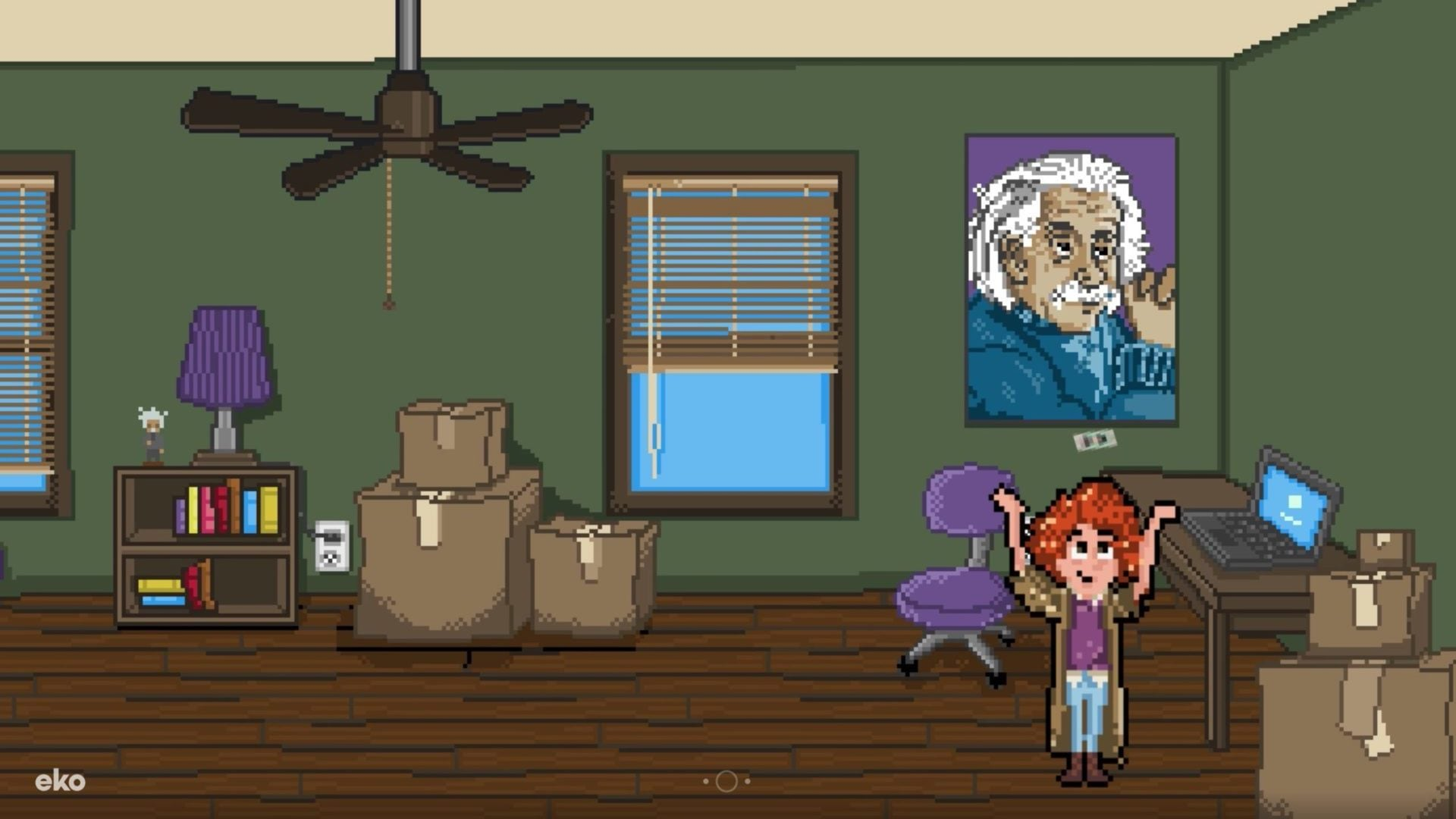 Max Einstein, from Rebels with a Cause, in his 8-bit bedroom