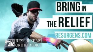 An Atlanta Braves pitcher throws a baseball in a Resurgens Orthopaedics squeezeback video animation.